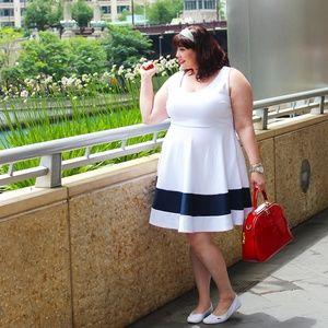 Society Plus Dresses - Society Plus White and Navy Skater Dress